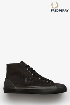 Fred Perry Black Hughes Mid Canvas Trainers
