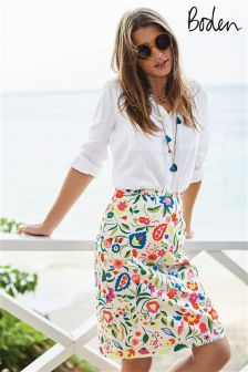 Boden Ivory Folk Pop Printed Cotton A-line Skirt