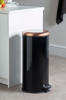 Black With Copper Effect Bin