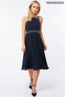Monsoon Navy Anna Embroidered Pleat Dress