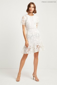 French Connection White Chante Lace Mix Dress