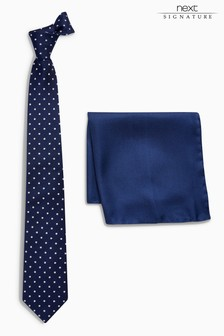Signature Tie And Spot Pocket Square Set