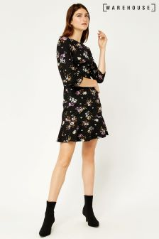 Warehouse Black Molly Floral Ponte Dress