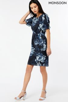 Monsoon Black Serena Print Dress