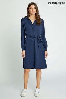 People Tree Navy Organic Cotton Madeline Shirt Dress
