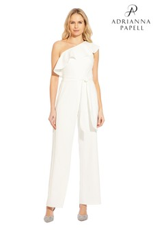 Adrianna Papell White Knit Crepe One Shoulder Jumpsuit