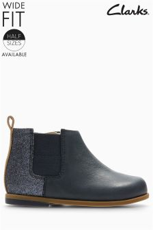Clarks Navy Combi Glitter Drew Fun Gusset Ankle Boot
