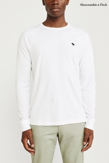 Abercrombie & Fitch White Long Sleeve Core T-Shirt