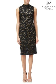 Adrianna Papell Black Lace Mock Neck Sheath