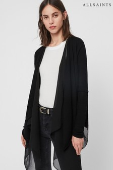 AllSaints Black Waterfall Double Layer Mirri Cardigan