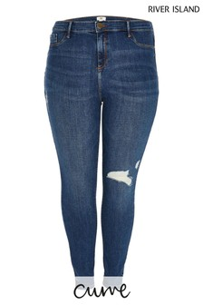 River Island Plus Denim Medium Molly Mid Rise Ripped Strand Jeans