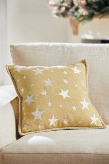 Embroidered Felt Star Cushion
