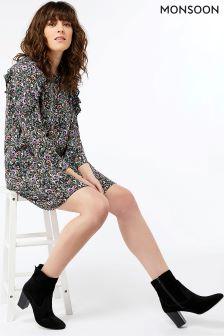 Monsoon Black Peony Tunic Dress