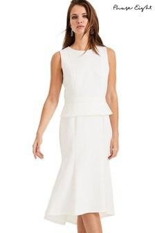 Phase Eight Cream Kerry Peplum Dress