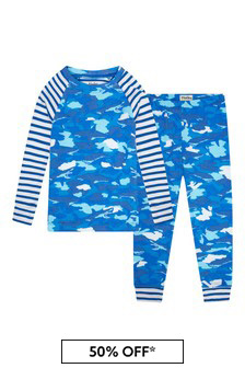 Hatley Kids & Baby Boys Blue Shark Camo Organic Cotton Raglan Pyjama Set