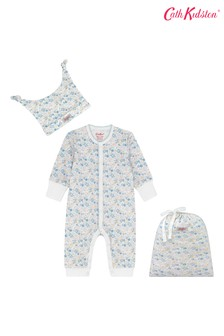 Cath Kidston® Mews Ditsy Small Footless Sleepsuit, Hat And Bag Set
