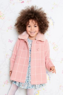 Check Faux Fur Collar Coat (12mths-6yrs)