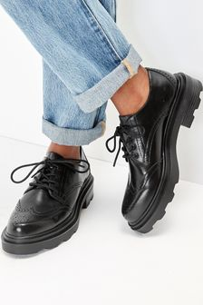 Chunky Brogue Lace-Up Shoes