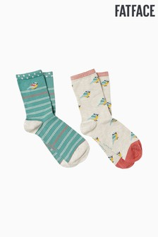 FatFace Natural Blue Tit Bamboo Socks Two Pack