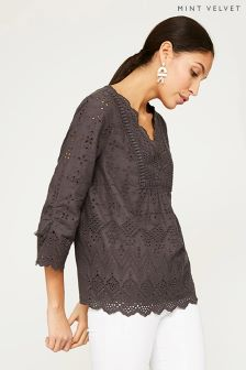 Mint Velvet Grey Ash Broderie Tassel Top