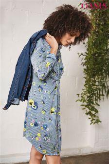 Oasis Blue Pressed Flower Twist Front Shirt Dress