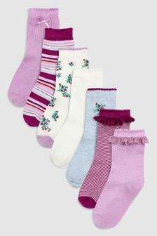 Floral Stripe Socks Seven Pack (Younger)