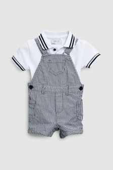 Stripe Dungarees And T-Shirt Set (3mths-6yrs)