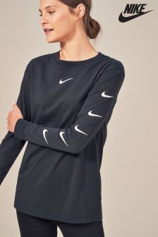 Nike Black Swoosh Long Sleeve Top