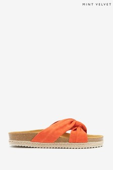 Mint Velvet Orange Bryony Orange Knot Sandals