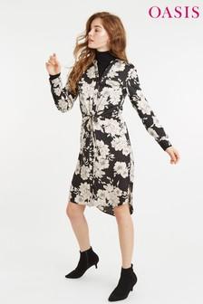 Oasis Black Bold Bloom Midi Shirt Dress