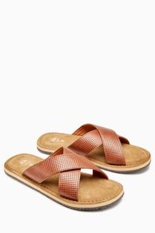 Textured Cross Strap Sandal