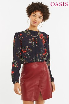 Oasis Black Autumn Floral Lace Trim Top