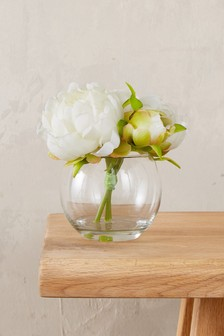 Artificial Roses In Glass Bowl