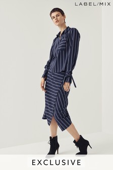 Next/Mix Stripe Tailored Midi Skirt
