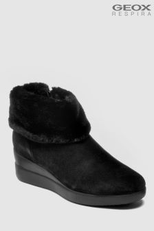 Geox Stardust Black Fur Lined Suede Ankle Boots