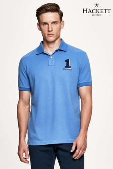 Hackett Blue New Classic Short Sleeve Polo