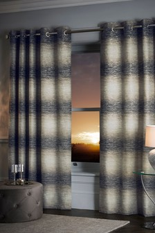 Metallic Ombre Stripe Eyelet Curtains