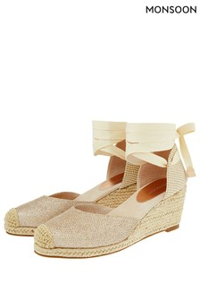Monsoon Ladies Gold Tulip Two Part Wedge Tie Espadrille