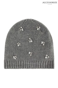 Accessorize Grey Embellished Beanie