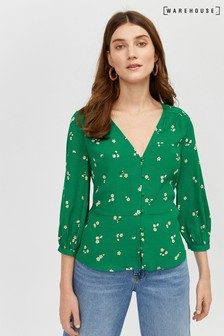 Warehouse Green Verity Floral Button Front Top