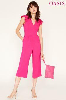 Oasis Pink Frill Sleeve V-Neck Jumpsuit