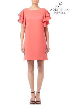 Adrianna Papell Gauzy Crepe  Ruffled Sleeve Shift Dress