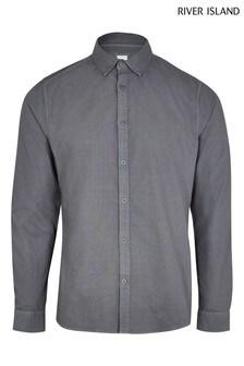 River Island Grey Dark Washed Oxford Shirt