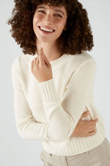 Pure Collection White Cashmere Lofty Cropped Sweater