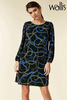 Wallis Black Chain Print Swing Dress