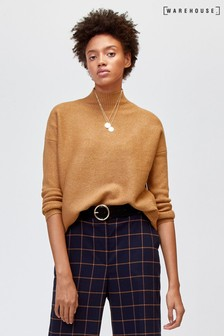 Warehouse Ribbed Boxy Funnel Neck Jumper