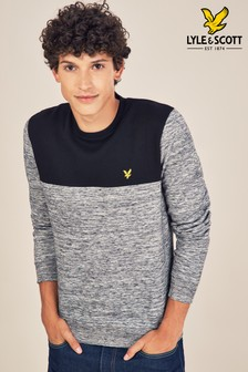 Lyle & Scott Black/Grey Colourblock Crew Neck Sweater