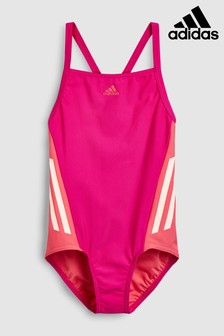 adidas Pink 3 Stripe Swimsuit