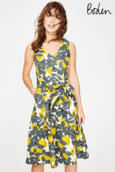 Boden Dark Sage Lemons Jade Dress