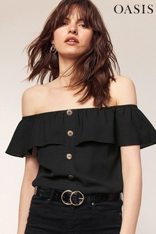 Oasis Black Button Through Bardot Top